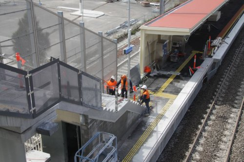 A section of platform 1 was out of gauge, so the fence was removed and the edge moved inwards, requiring the steps to be cut back so wheelchairs could still get past