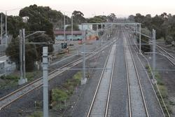 Track from the Altona line via platform 3 rejoins the mainline at the down end of Laverton