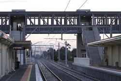 Footbridge at the down end of Laverton station
