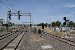 Signals LAV732, LAV722 and LAV702 at the up end of Laverton station