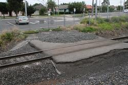 Remains of the level crossing over the standard gauge, used to provide construction access to Laverton platform 1