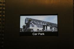 Photo of the Laverton station footbridge features on the screen inside the lift