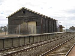 Goods shed and platform 1 viewed from the down end