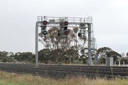 Signal at Manor Junction cleared for an up train travelling via Werribee