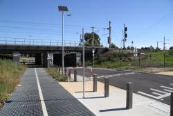 Upgraded shared path passing under the railway line at Merton Street