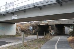 Upgraded bike path beneath the railway line at Merton Street