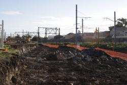 Newport Workshops: Digging out the lead for the sidings east of the Tarp Shop