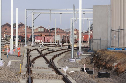 Concrete points leading into the new stabling sidings