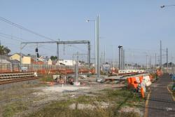 Work still incomplete on the new lead into Newport Workshops