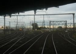 Looking down the line from the junction, Williamstown lines to left, Geelong lines to the right
