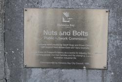 'Nuts and Bolts' by Geoff Hogg and Enver Cambdel (1995) in the Newport station subway beneath Melbourne Road