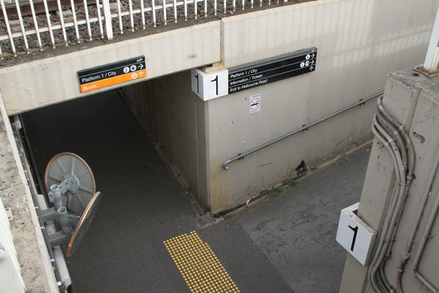 Looking down into the pedestrian subway at Newport