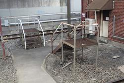 Staff exchange platforms beside the signal box