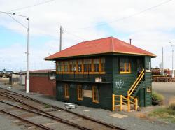 Wooden signal box and brick relay room