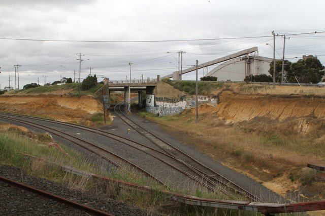 Tracks from the grain loop pass under the passenger lines