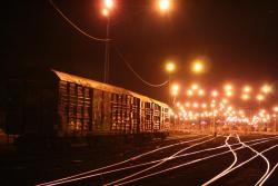 South (station) end of North Geelong Yard at night
