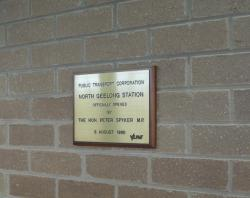 Plaque marking opening of station in 1990