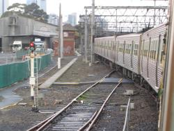 North Melbourne Junction: Up end of the Coburg goods sidings, running parallel to the Upfield line