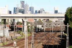 Atop the Essendon Flyover, various crossovers visible on the suburban tracks down below