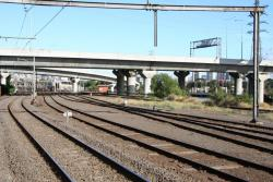 Looking up the line at Spion Kop, the Melbourne Yard arrivals roads start to the right