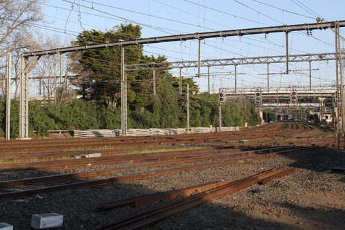 Six pairs of tracks at North Melbourne Junction
