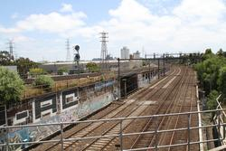 Looking down on the Werribee and Sunbury line tracks from the Essendon Flyover