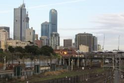 North Melbourne: South end of the station, looking towards the North Melbourne Flyover and the CBD skyline