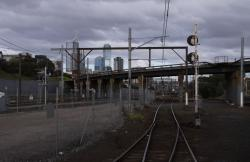 Looking back to the North Melbourne flyover from the Coburg Goods Lines