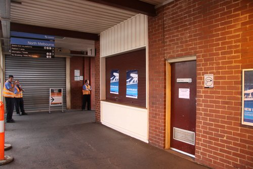 Former main entry and kiosk now closed for good