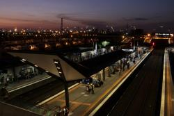 Dusk falls on the station platforms