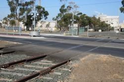 Seabeach Parade level crossing. Note the dual gauge