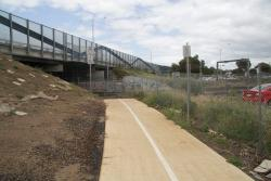 Princes Freeway, Laverton: New shared path running under the Princes Freeway bridge, on the north side of the tracks