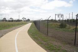 New shared path running under the Princes Freeway bridge, on the north side of the tracks