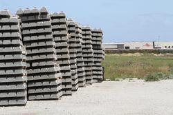 Stockpile of point work and concrete sleeper outside the depot