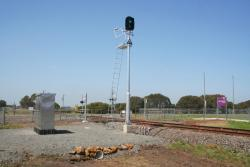 Automatic signal to prevent the level crossing going activating when a train is waiting