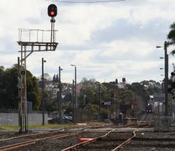 Up arrival signal on post 4 at the Swanston Street end of South Geelong