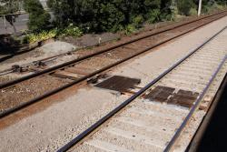 Point rodding running between brand new concrete sleepers