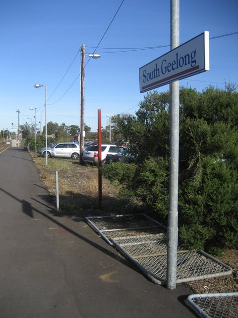 Looking down the South Geelong station platform