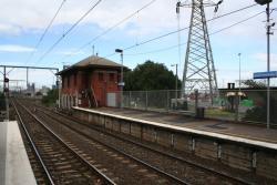 Disused signal box at the city end of the down platform