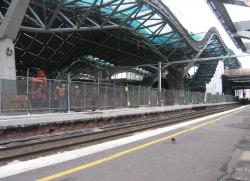 Southern Cross: Platform 11/12 being rebuilt, as work continues on the roof above