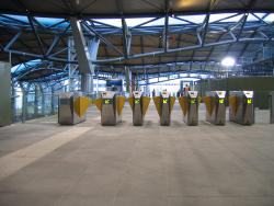 Southern Cross: Metcard barriers on the Collins Street concourse