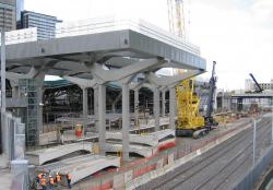 Southern Cross: Starting work on the deck above future platform 15/16