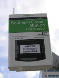 Southern Cross: New Southern Cross Station sign on Collins Street tram stop