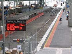 Departure signage and a finished platform