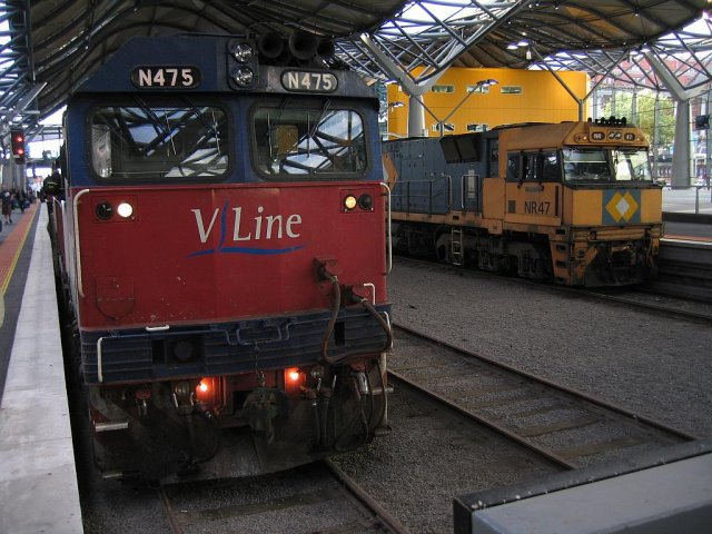 N475 with a V/Line service and NR47 on 'The Overland'