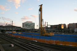 Piling works at the north end of platform 5 and 6, for the new yardmaster office