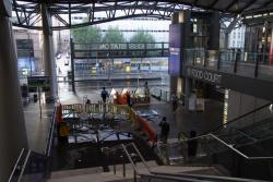 Southern Cross: Puddles on the concourse from the storm damage