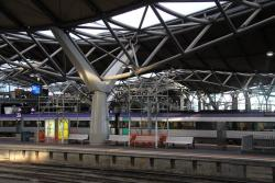Southern Cross: Temporary scaffolding above platform 3/4 pending roof repairs for the storm a few months ago