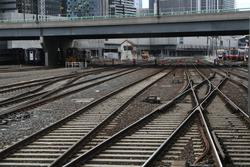 Tracks lead into Southern Cross from Franklin Street Junction