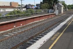 Recently replaced track between the platforms